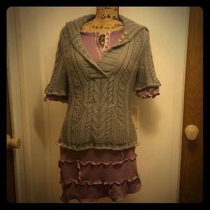 Refashion Gray & Purple Cableknit Sweater Dress